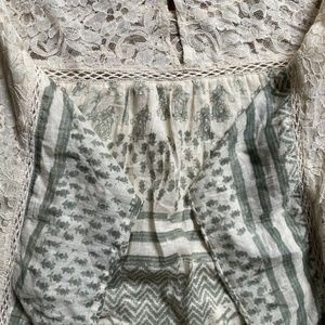 Free People Lined Cotton Lace Inset Tunic M